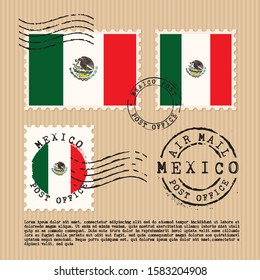 Postage stamps isolated on brown paper background with national flag of Mexico : Vector Illustration
