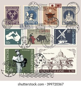 postage stamps, Japanese Imperial Post (upper banner Japanese stamp), Russian Post (text on stamper and upper banner Russian stamp), The Cathedral of Vasily the Blessed (lower banner Russian stamp)