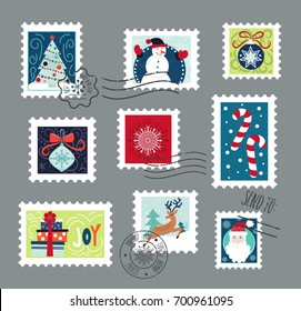 Postage stamps set for Christmas.