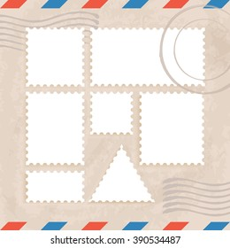 Postage Stamps Template : Vector Illustration
