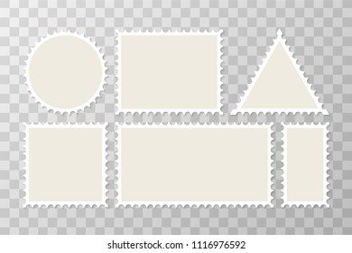 Postage stamps. Vector post or postcards with borders on transparent background. Vector stock illustration.