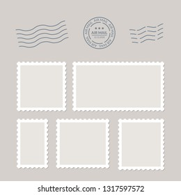 Postage stamps vector vintage border post mail. Blank postal sticker template frame. Postmark perforated paper.
