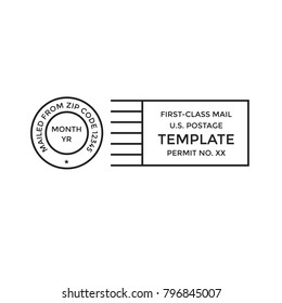 Postal cancellation First Class mail w Postage Paid mark