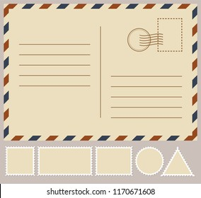 Postal card isolated on white background. Vector stock illustration