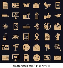 Postal code icons set. Simple set of 36 postal code vector icons for web for any design
