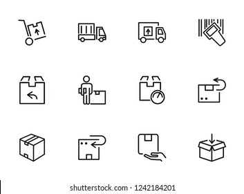 Postal delivery line icon set. Set of line icons on white background. Delivery concept. Parcel, package, post office. Vector illustration can be used for topics like shipping, transporting, delivery