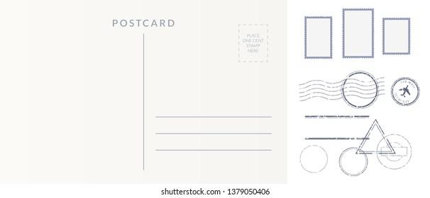 Postal elements set: empty postcard back, postage stamps and cancel marks imprints.