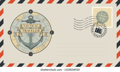 Postal envelope with stamp and rubber stamp. Illustration on the theme of travel, adventure and discovery with a ship anchor, old map, compass and ribbons with words Nautical, Traveler