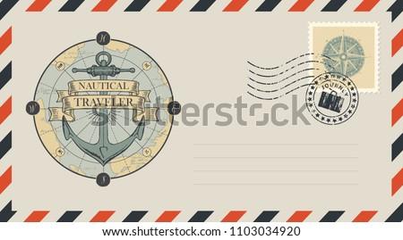 Postal envelope with stamp