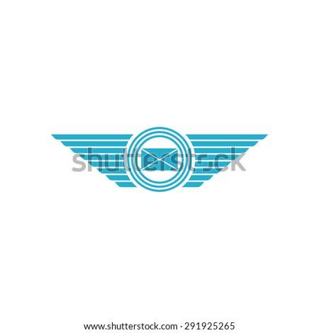 Postal Envelope Wings Mail Logo Mockup Stock Vector (Royalty Free
