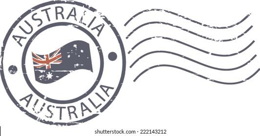 Postal grunge stamp 'Australia'