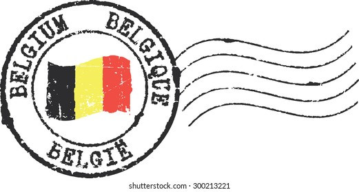 Postal grunge stamp 'Belgium'. English, french and dutch inscription