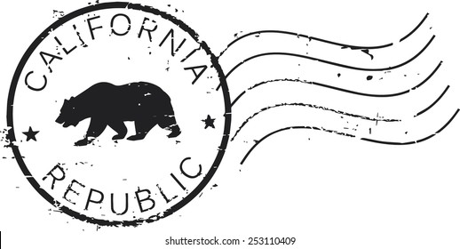 Postal grunge stamp 'California republic'