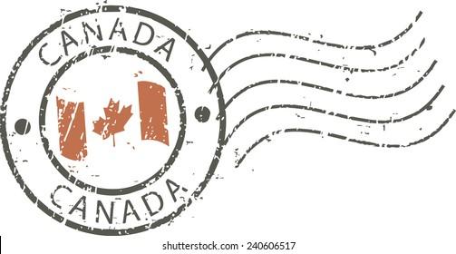 Postal grunge stamp 'Canada''