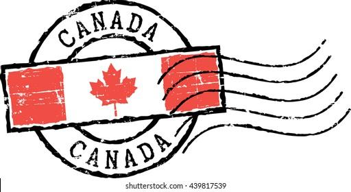 Postal grunge stamp 'Canada'. White background.