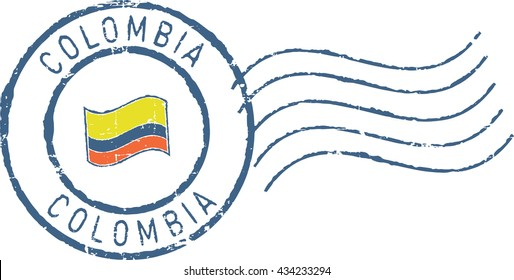 Postal grunge stamp 'Colombia'. White background.