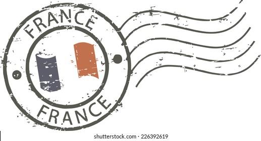 Postal grunge stamp 'France'
