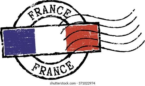 Postal grunge stamp ''FRANCE''