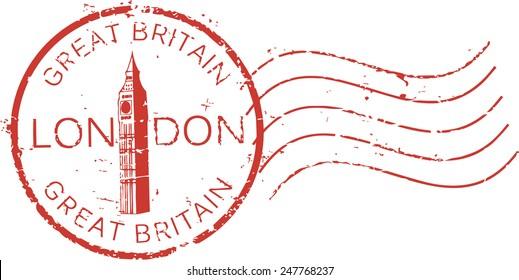 Postal grunge stamp 'London - Great Britain' with the 'Big Ben' tower