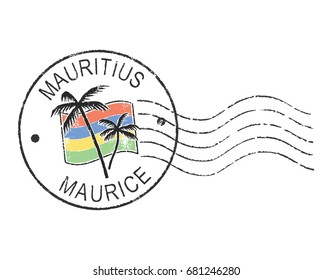 Postal grunge stamp ''Mauritius''. English and french inscription. White background.