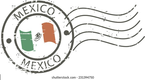 Postal grunge stamp 'Mexico'. Mexican flag in the middle.