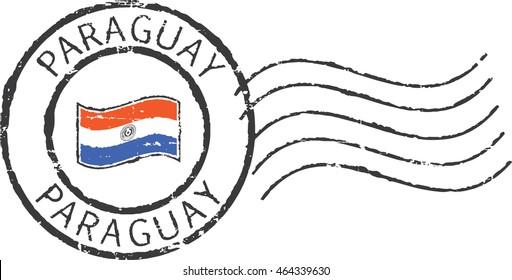 Postal grunge stamp 'Paraguay'.