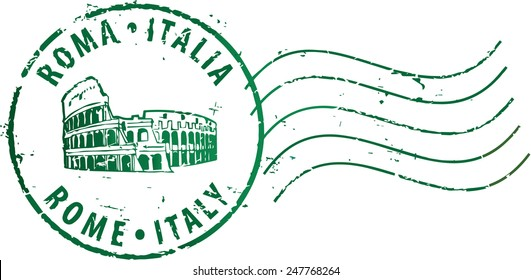 Postal grunge stamp 'Rome-Italy' with the colosseum. Italian and english inscription
