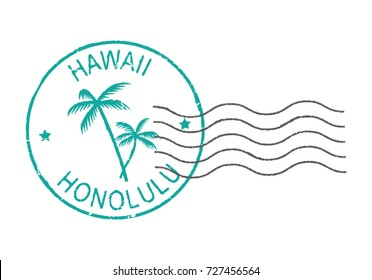 Postal grunge stamp symbols ''Hawaii-Honolulu''.