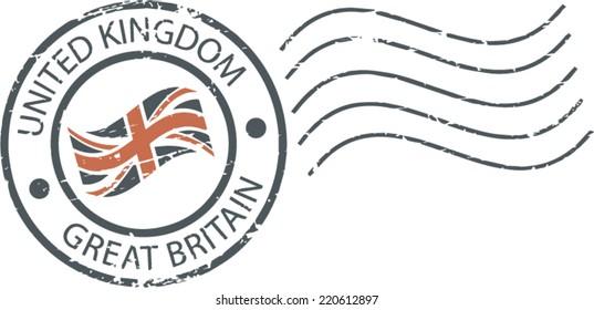 Postal grunge stamp 'United Kingdom'