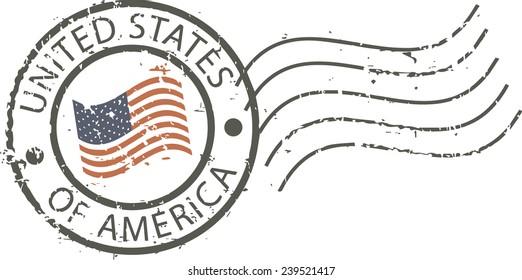 Postal grunge stamp 'United states of America'