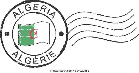 Postal grunge stamps 'Algeria'. English and french inscription.