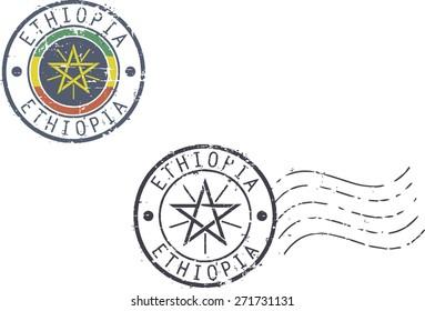 Postal grunge stamps 'Ethiopia'