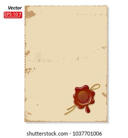 Postal  letter, blank sheet of paper, wax seal with rope isolated on white background vector illustration