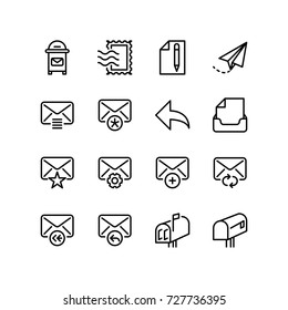 postal mail and email icon set