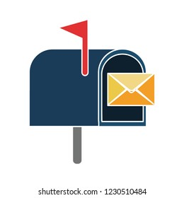postal mailbox isolated vector - postal message illustration sign . correspondence buttons sign symbol