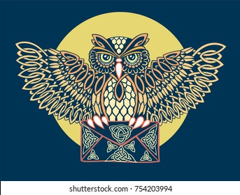 Postal patterned owl Celtic ornaments with envelope in its claws