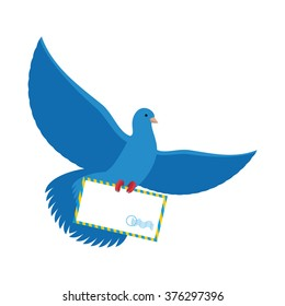 Postal pigeon. Blue Dove with envelope. Bird postman carries paper letter in its paws.