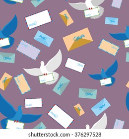 Postal pigeon Dove seamless pattern. Envelope and letter paper. Flying bird. Background of birds and envelopes