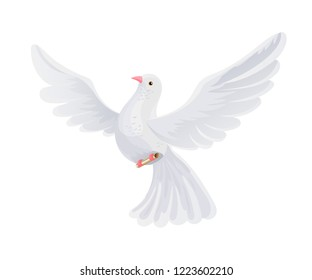 Postal pigeon with letter in the envelope. Flying bird bears mail correspondence, an envelope with the letter, postal orders, delivery of postcards. Pigeon courier mail. Vector illustration.