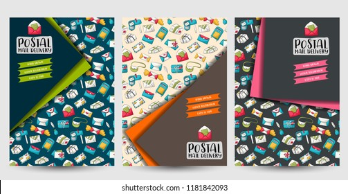 Postal service flyer or posters set. Background for advertisement, menu, brochure template. Hand drawn doodle cartoon style mail and package delivery courier decoration concept. Vector illustration.