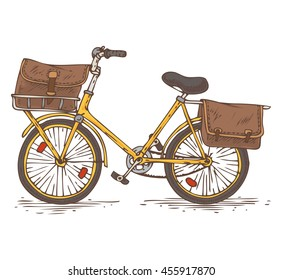 Postal Service. Mail Delivery. Yellow Bicycle with Brown Bags as a Baggage
