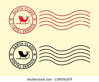 Postal service of Santa Claus, worn vintage stamp, grunge. Vector illustration.