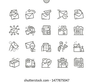 Postal service Well-crafted Pixel Perfect Vector Thin Line Icons 30 2x Grid for Web Graphics and Apps. Simple Minimal Pictogram