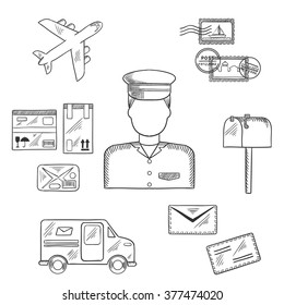 Postal sketch icons around a postman with postage stamps and letterbox, packages and van, airplane and letters. Postman profession concept
