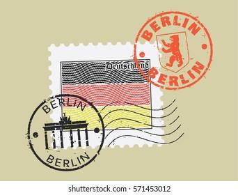 Postal stamp symbols 'Berlin-Germany'. German flag (engraved, woodcut effect).