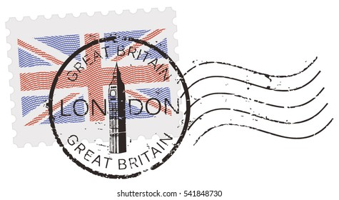 Postal stamp symbols 'London - Great Britain' with the 'Big Ben' tower and Union Jack - British flag (engraved, woodcut effect).