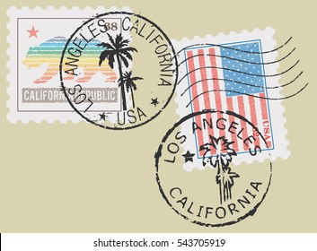 Postal stamp symbols 'Los Angeles-California'. Stylized Californian and USA flag (engraved, woodcut effect).