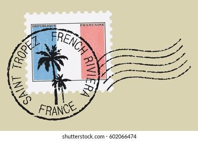 Postal stamp symbols 'Saint Tropez - France'.  French flag (engraved, woodcut effect).