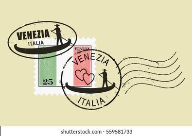 Postal stamp symbols 'Venice - Italy'. Man rowing gondola (boat). Italian inscription and flag (engraved, woodcut effect).