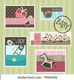 Postal stamps with baby elements, vector